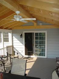 gable roof sunroom w ceiling fan angle 2 under deck storage