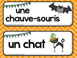 french halloween follow me cards and wall words by betsybelleteach