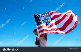 Holding The Flag Man Holding Waving American Usa Flag Stock Foto 664915999