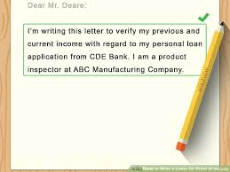 how to write a letter for proof of income with sample letters