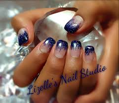 midnight blue glitter tips hand painted nail art sculpted gel