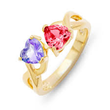 rings with birthstones 2 heart birthstone gold infinity ring