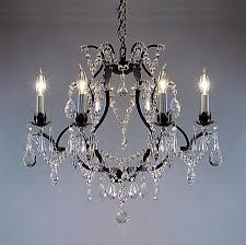 Crystal And Bronze Chandelier Go A83 3030 6 Wrought Iron Crystal Chandelier Chandeliers H19
