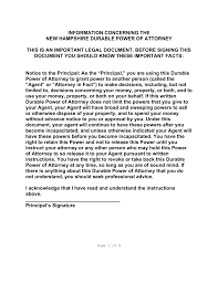 Form 2848 Power Of Attorney by Free New Hampshire Power Of Attorney Forms Pdf Word Eforms