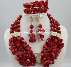 red crystal bead necklace images Wine red african coral beads jewelry set handmade nigerian beaded jpg