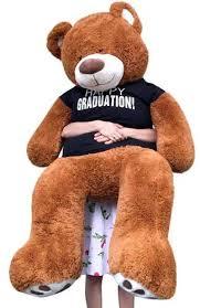 personalized graduation teddy big plush 5 foot graduation teddy soft t shirt says happy