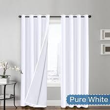 White Satin Curtains Flamingop Blackout White Curtains Faux Silk