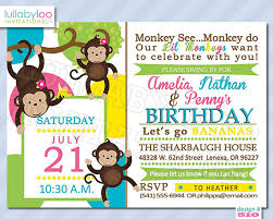 monkey birthday invitations for twins triplets by lullabyloo
