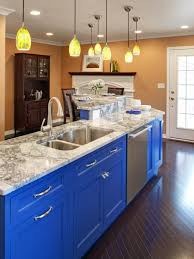 blue kitchens with white cabinets white wooden floating shelves