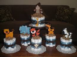 Baby Boy Shower Centerpieces by Safari Jungle And Monkey Diaper Cakes Baby Shower Centerpieces
