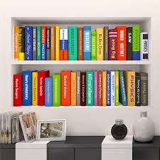 creative 3d bookshelf book cabinet door study wall mural photo