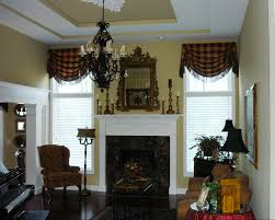 livingroom windows interior grey curtain with valance and tassle combined with white