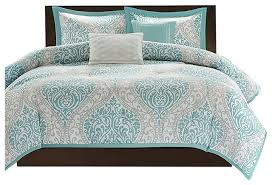 Aqua And White Comforter Full Queen Size 5 Piece Damask Comforter Set Light Blue White And