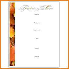 7 thanksgiving menu template card authorization 2017