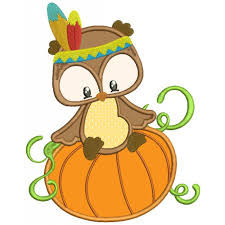 that looks like indian sitting on a pumpkin thanksgiving applique