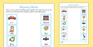 word rhyme early years eyfs words rhymes page 1