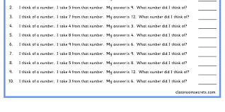 i think of a number add classroom secrets