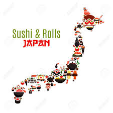 sushi sashimi and seafood rolls in map japanese cuisine