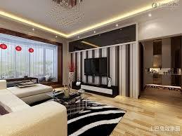 modern minimalist living room black and white wallpaper tv