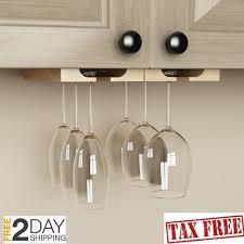 wine glass rack adjustable natural finish under cabinet wood