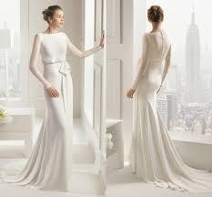 2015 simple design long sleeves wedding dresses chiffon ribbon