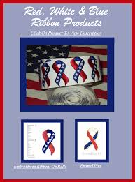 white and blue ribbon cause embroidered ribbons awareness ribbons cancer ribbons the