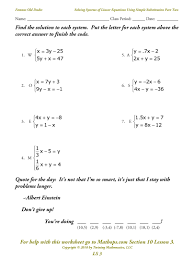 solving systems of equations worksheet free worksheets library
