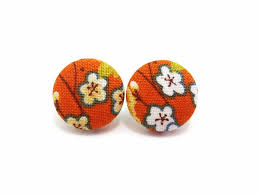 button earrings medium button earrings fabric button studs clip on earrings japan