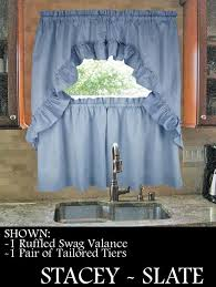 Ruffled Kitchen Curtains Stacey Solid Color Tailored Tiers Kitchen Window Curtains Window
