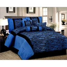 Zebra Print Bedroom Furniture by Queen Black Blue 7 Pcs Luxury Micro Fur Zebra Pattern Bed In A Bag