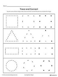 learning basic shapes color trace and connect printable