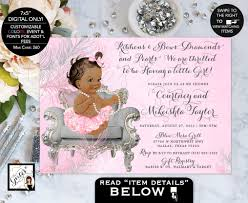 diamonds and pearls baby shower american baby shower invitation ribbons bows diamonds