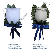 navy blue ribbon bud boutonniere with navy blue satin ribbon