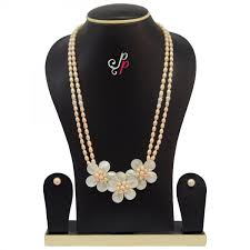 long pearl necklace set images Lines long pink pearl necklace set in pretty mother of pearl pendant jpg