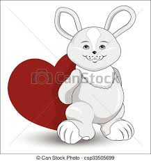 eps vectors rabbit heart lovely gray rabbit red