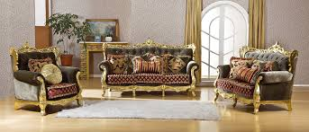 Gold Fabric Sofa S2023 China Furniture Sale Rubber Wood Carved Furniture Gold