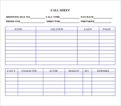Call Sheet Template Call Sheet Template Selimtd