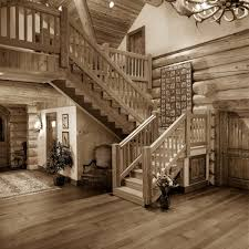 Recessed Handrail Outstanding Log Home Staircases Using Oak Wood Handrail Across