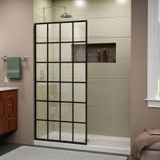 dreamline french linea toulon 34 in x 72 in frameless fixed french linea toulon 34 in x 72 in frameless fixed shower door in satin