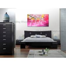 How To Hang Art On Wall by Large Contemporary Wall Art Floral Painting Cherry Blossom Scenery