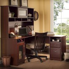 Bush Office Desks Bush Furniture Cabot 60 In L Shaped Desk With Hutch Harvest