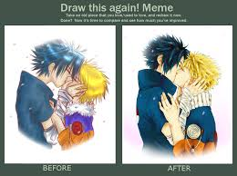 Draw This Again Meme Template - before after a sasunaru kiss by snackage on deviantart