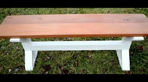 how to build a mahoganny farmhouse pedestal style bench diy