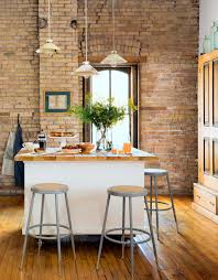 Modern Brick Wall by Kitchen Modern Kitchen White Kitchen Table Stainless Bar Stools