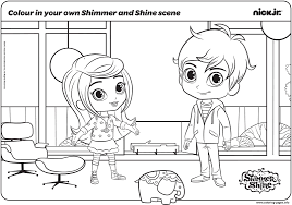 j coloring pages colour in your own shimmer and shine scene coloring pages printable