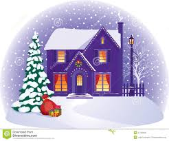 Christmas House by House In Winter Christmas Night Royalty Free Stock Photo Image