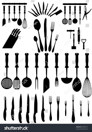 Types Of Kitchen Knives by Silhouettes Kitchen Accessories Cutlery Various Types Stock Vector