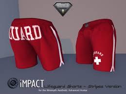second life marketplace stripes impact lifeguard shorts for