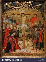 painting depicting the calvary and crucifixion of jesus christ by
