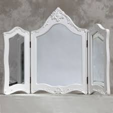 white french style triple dressing table mirror